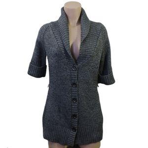 Jacob wool gray short sleeve cardigan size Med